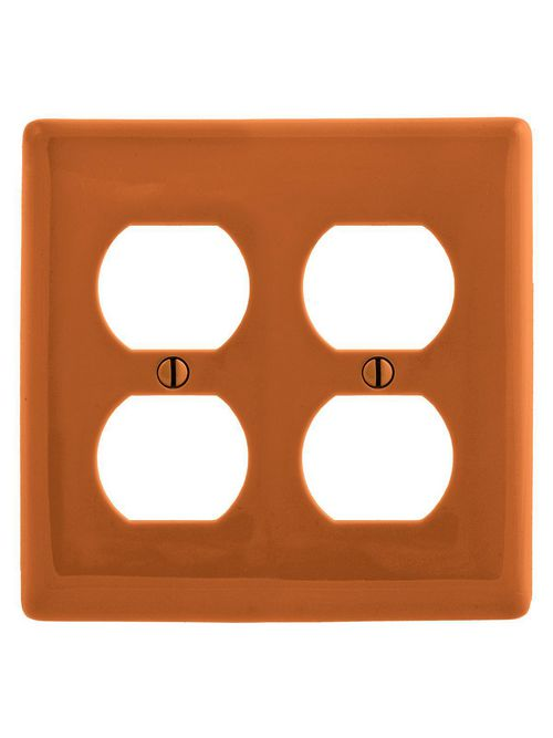 Hubbell Wiring Devices NP82OR 2-Gang Orange Nylon Standard 2-Duplex Receptacle Wallplate