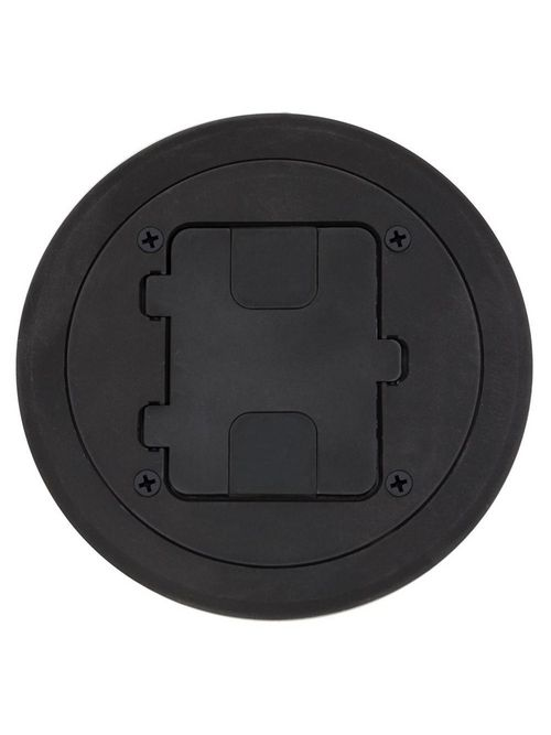 Hubbell Wiring Devices RF406BK NEMA 5-15R Black Thermoplastic Flange and Hinged Door Cover Assembly