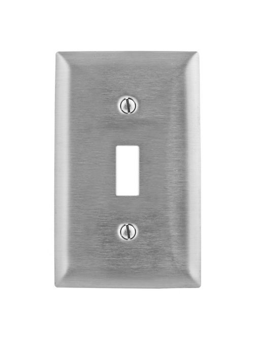 Hubbell Wiring Devices SSJ1 1-Gang Stainless Steel Jumbo 1-Toggle Switch Strap Mount Wallplate