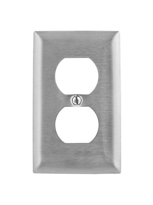 Hubbell Wiring Devices SSJ8 1-Gang Stainless Steel Jumbo 1-Duplex Receptacle Strap Mount Wallplate