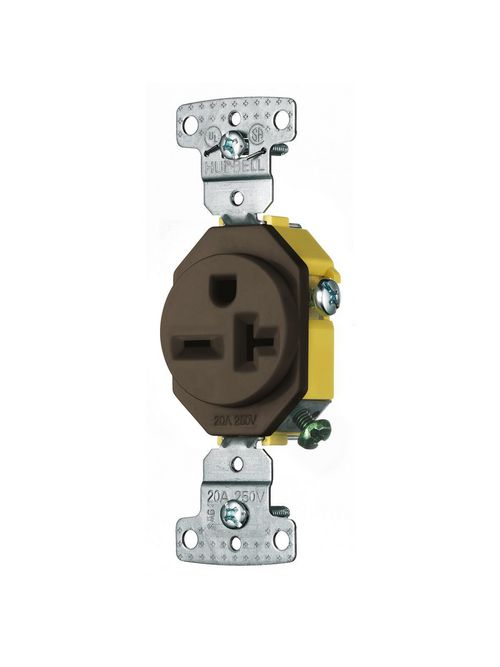 Hubbell Wiring Devices RR205 20 Amp 250 Volt 2-Pole 3-Wire NEMA 6-20R Brown Single Receptacle