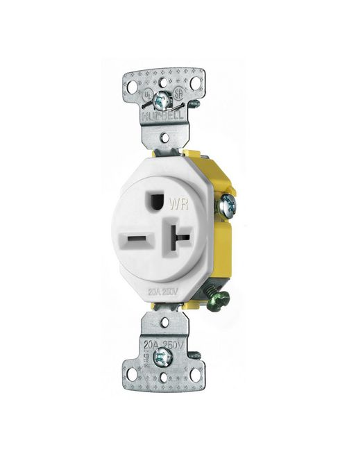 Hubbell Wiring Devices RR205WWR 20 Amp 250 Volt 2-Pole 3-Wire NEMA 6-20R White Single Receptacle