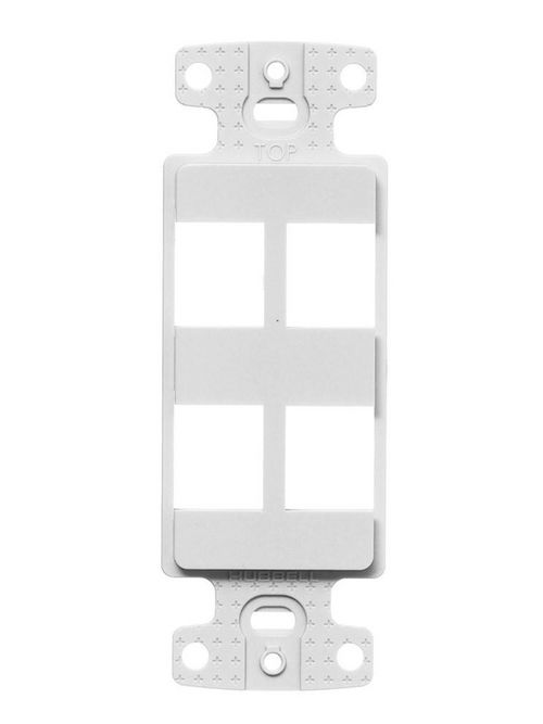 Hubbell Wiring Devices NS614W 1-Gang White Thermoplastic 4-Port Box Mount Data Communication Face Plate