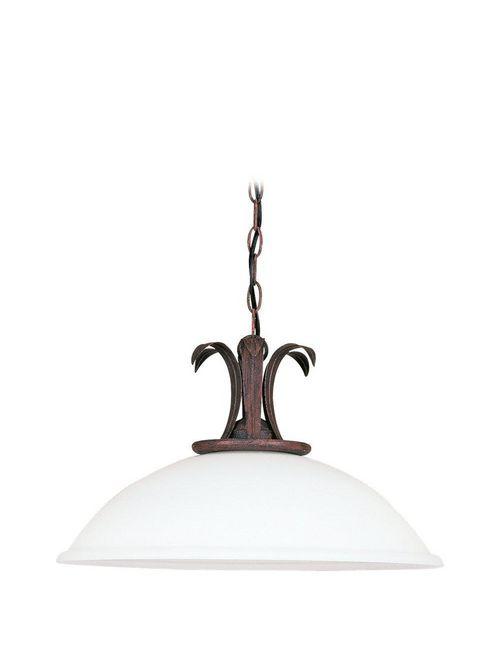 Sea Gull Lighting 6530-08 1-Lamp 150 W 120 Volt Textured Rust Patina Medium White Textured Glass A19 Pendant Light Fixture