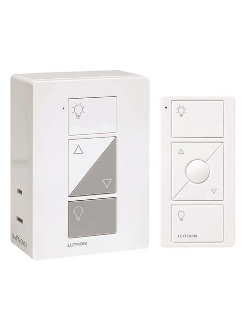 Lutron Electronics P-PKG1P-WH 300/100 W White Wireless Plug-In Lamp Dimmer with Remote Control Kit