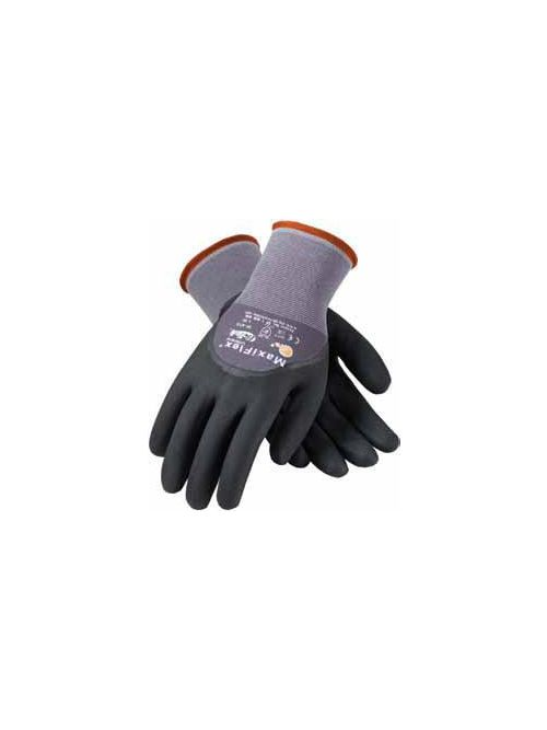 PIP 34-875/L Large Black Nitrile Micro Foam Palm Full Finger and Knuckle Coated Knit Protective Gloves
