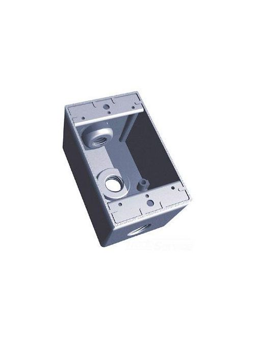 Red Dot S103E Silver Aluminum 3-Hole 1-Gang 1/2 Inch Deep Weatherproof Box
