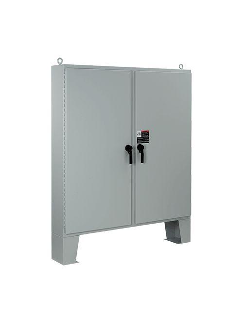 Hoffman A62H4818LP3PT 62.06 x 48.06 x 18.06 Inch 12 Gauge Steel NEMA 4 2-Door Floor Mount Enclosure