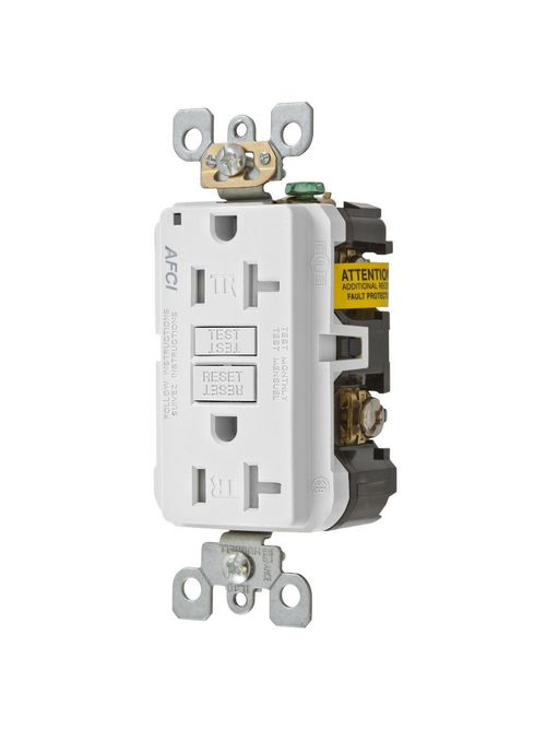 Hubbell Wiring Devices AFR20TRW 20 Amp 125 Volt 2-Pole 3-Wire NEMA 5-20R White Arc Fault Receptacle with LED Indicator