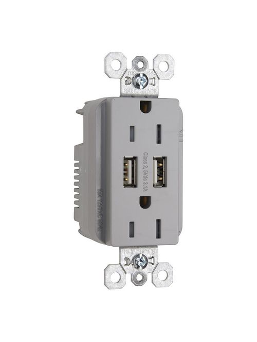 Pass & Seymour TR-5262USBGRY Fed Spec Grade USB Charger with Tamper Resistant Gray 15 Amp Duplex Receptacles