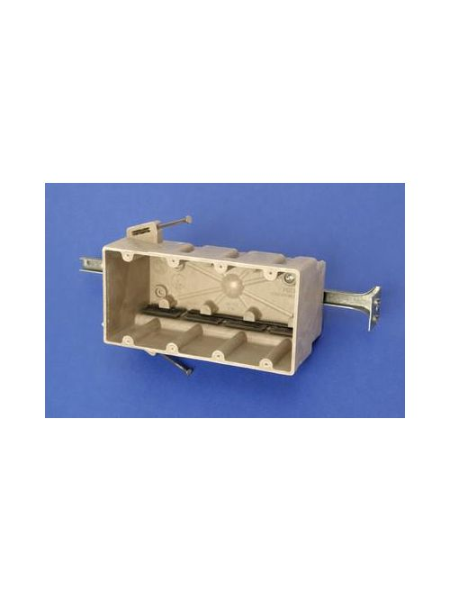 Allied Moulded Products 4304-NBK 3-9/16 x 7-1/2 x 3-3/4 Inch 75 In 4-Gang Angled Mid-Nail Switch/Receptacle Outlet Box