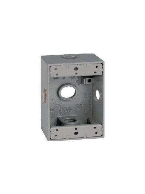 Teddico DB-100-22XV 1-Gang 4-9/16 x 2-13/16 x 2-5/8 Inch 1 Inch 5-Hub Gray Die-Cast Metal Weatherproof Outlet Box