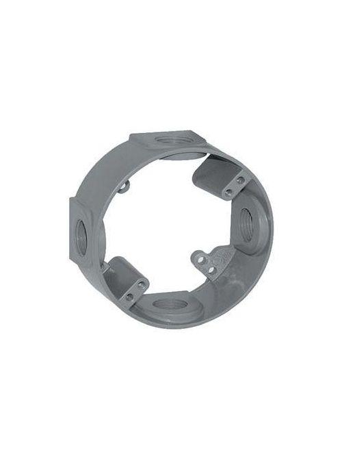 Teddico EX-7V 4-9/16 x 4-5/8 x 2 Inch 3/4 Inch 4-Hub 18.3 InGray Die-Cast Metal Round Outlet Box Extension