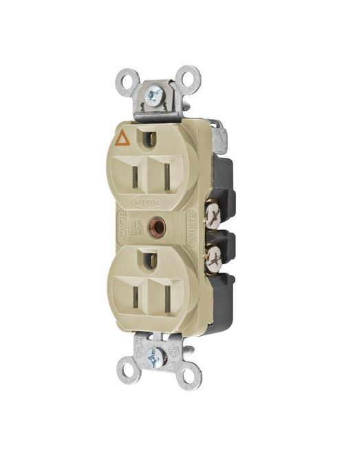 Hubbell Wiring Devices CR5252IGI 15 Amp 125 Volt 2-Pole 3-Wire NEMA 5-15R Ivory Isolated Ground Duplex Receptacle