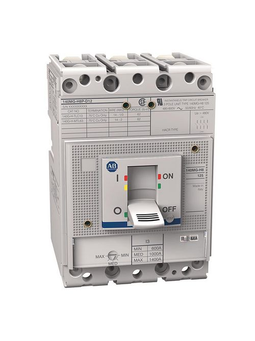 Allen Bradley 140MG-H8P-D12 125 Amp H-Frame Motor Protector Circuit Breaker