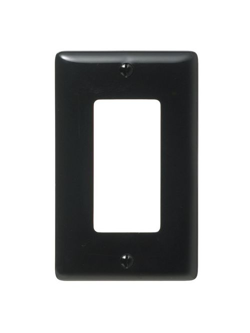 Hubbell Wiring Devices NP26BK 1-Gang Black Nylon Standard 1-Decorator Switch Wallplate