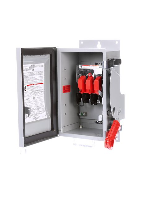 Siemens Industry HNF261J 480/600 VAC 250/600 VDC 30 Amp 2-Pole 2-Wire NEMA 3R/3S/12 Heavy Duty Non-Fusible Safety Switch