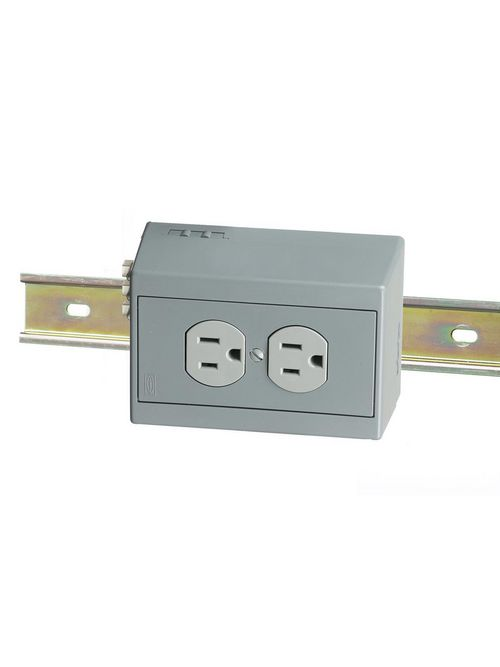 Hubbell Wiring Devices DRUB15H 15 Amp 125 Volt NEMA 5-15R Gray Din Rail Utility Box Duplex Receptacle