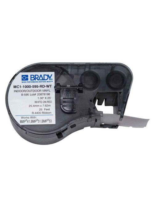 Brady MC1-1000-595-RD-WT M Series B595 1 Inch x 25 Foot 1EA White/Red 1 Inch Cartridge Maker Label