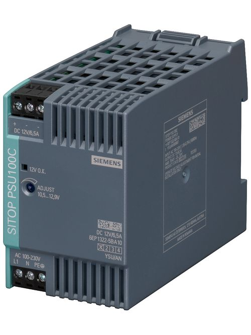 Siemens Industry 6EP13225BA10 120/230 VAC Input 12 VDC 6.5 Amp Output Stabilized Power Supply