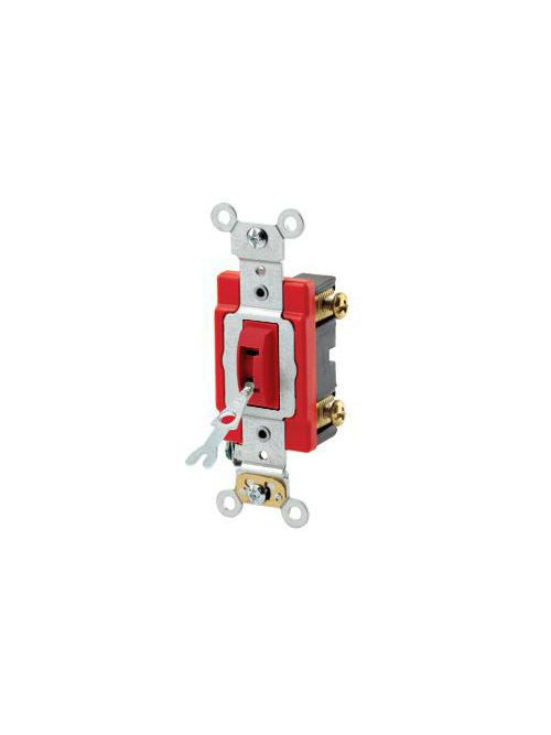 Leviton 1221-2RL 20 Amp 120/277 Volt Industrial Grade Self Grounding Red Toggle Locking 1-Pole AC Quiet Switch
