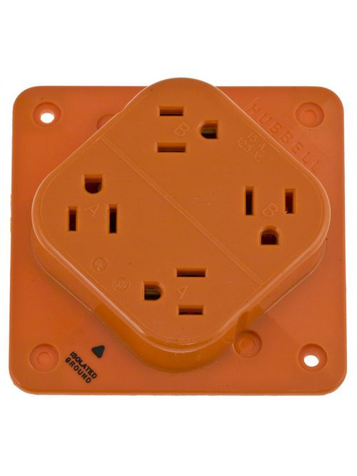 Hubbell Wiring Devices IG415 15 Amp 125 Volt 2-Pole 3-Wire NEMA 5-15R Orange Isolated Ground Straight Blade Receptacle