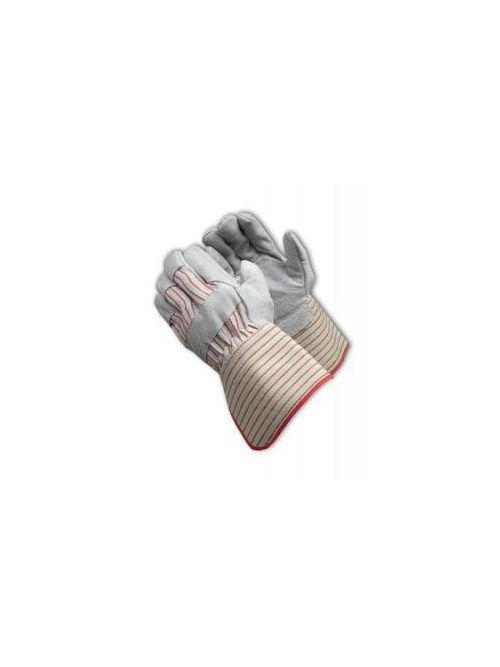 PIP 85-7612 Shoulder Split Cowhide Leather Palm Glove with Fabric Back Rubberized Gauntlet Cuff