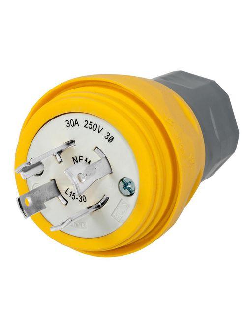 Hubbell Wiring Devices HBL28W75 30 Amp 250 Volt 3-Pole 4-Wire NEMA L15-30P Yellow Locking Plug