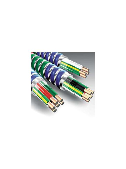 MC-IG Cable 12/2 Solid (Blue,White) w/ 12 Solid (Green, Green/Yellow) Ground, Steel Armored Lightweight Isolated Ground Cable, 120/208V, 250 Foot Coil