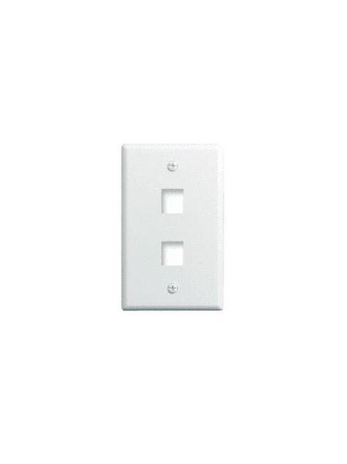 Pass & Seymour WP3402-WH-10 1-Gang 2-Port White Plastic Keystone Wallplate