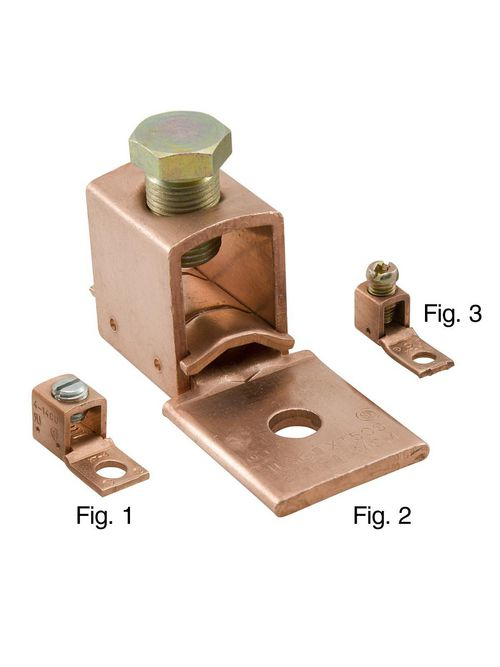 ILSCO XT-0 6 to 1/0 AWG 1/4 Inch Stud Copper 1-Conductor 1-Hole Mechanical Lug
