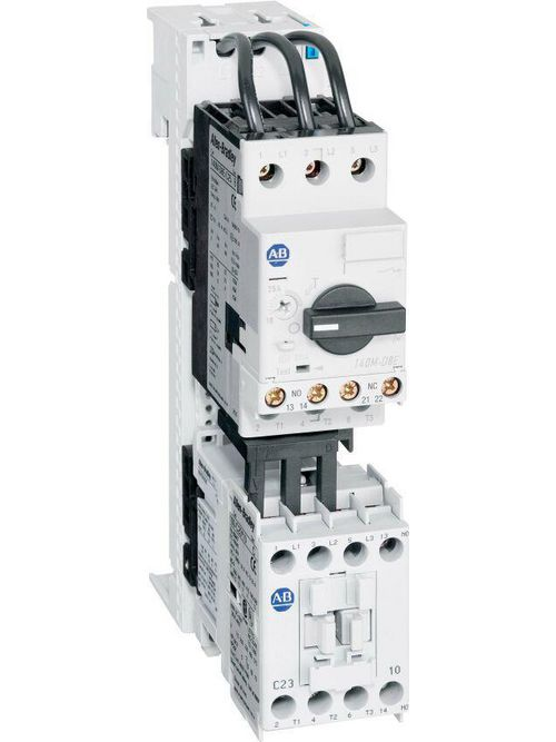 Allen-Bradley 103S-ATD2-CB25C IEC Combination Starter, 100-C09, 110V 50Hz / 120V 60Hz, 1 N.O. 0 N.C., 140M-C2E (C-Frame), High Break, Internal Auxiliary Contact 1 N.O. + 1 N.C., No Side Mount Aux. or Trip Contacts