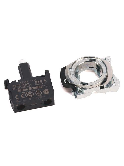 Allen-Bradley 800F-PN5W 120 VAC Plastic Latch Mount Integrated White LED Push Button