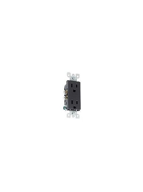 Leviton 5325-E 125 Volt 15 Amp 2-Pole 3-Wire NEMA 5-15R Black Thermoplastic Decorator Straight Blade Duplex Receptacle