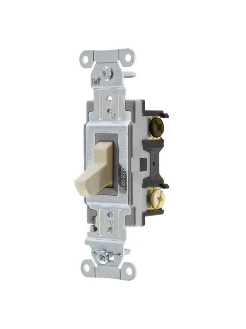 Hubbell Wiring Devices CSB320I 20 Amp 120/277 VAC 3-Way Ivory Toggle Switch