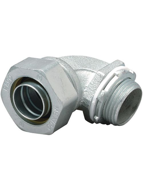 Hubbell Electrical Systems K0759 3/4 Inch Threaded Zinc Plated Steel Non-Insulated 90 Degrees Liquidtight Connector