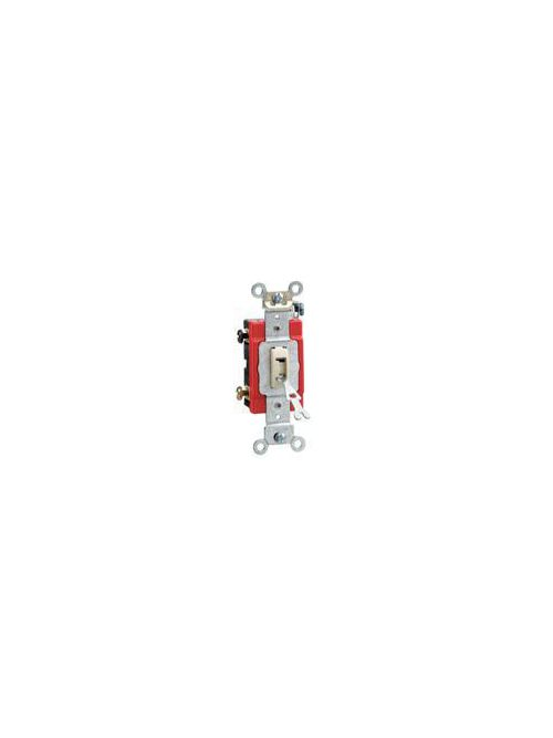 20 Amp, 120/277 Volt, Toggle Locking 3-Way AC Quiet Switch, Industrial Grade, Self Grounding, Back & Side Wired, - White