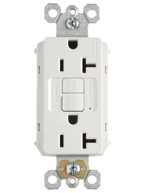 Pass & Seymour PT2097-W 20 Amp 125 VAC 2-Pole 3-Wire NEMA 5-20R White Nylon Self-Test Duplex GFCI Receptacle