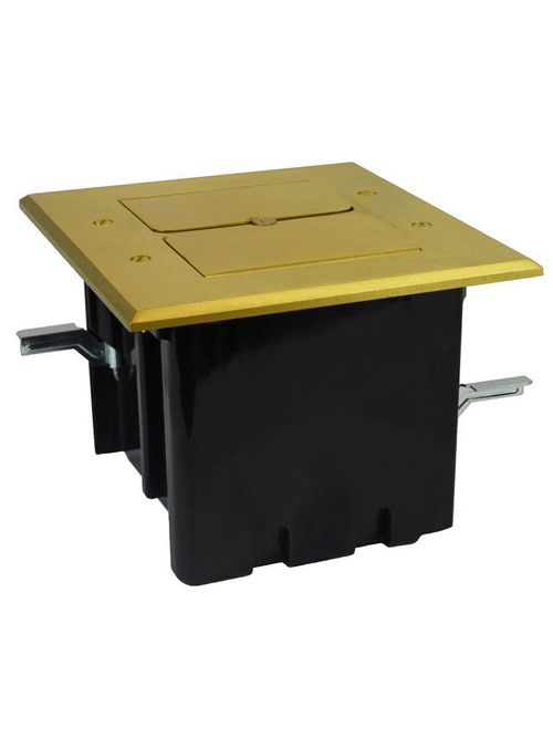 Allied Moulded Products FB-5 44.5 cubic inch 2-Gang Floor Box with Brass Cover for Low Voltage Installation