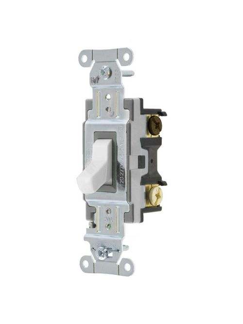 Hubbell Wiring Devices CSB320W 20 Amp 120/277 VAC 3-Way White Toggle Switch