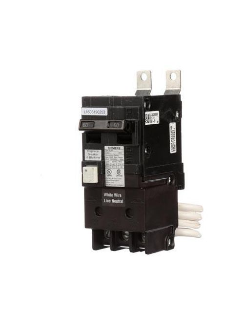 Siemens Industry BF260 120/240 Volt 60 Amp 10 Kaic 2-Pole 5 mA GFCI Type BLF Molded Case Circuit Breaker