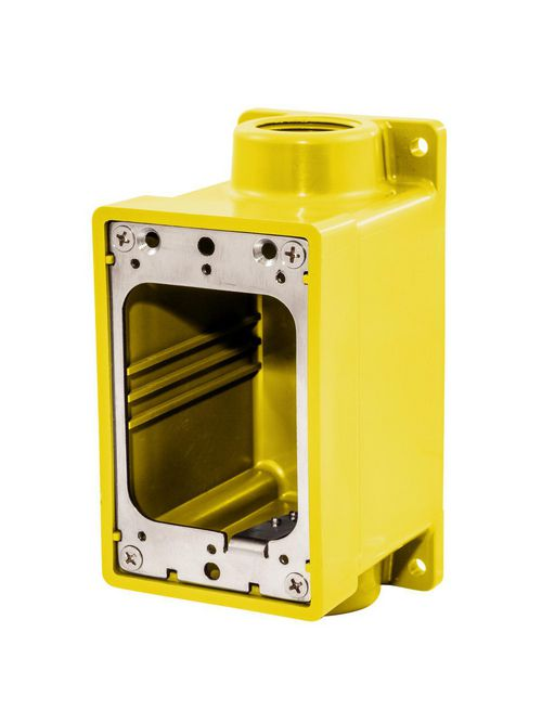 Hubbell Wiring Devices HBL60CM83A 3/4 Inch Yellow Fiberglass Weatherproof Dockside Deep Box