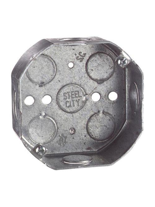 """Steel City 54151-1/2&3/4 4"""" Octagon Box, 1-1/2"""" Deep w/ 1/2 & 3/4 Knockouts, Steel, 15.8cu.in"""