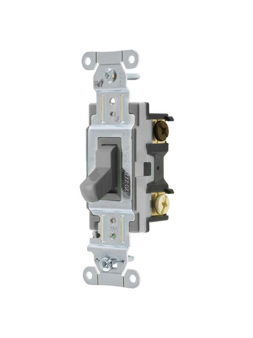 Hubbell Wiring Devices CSB320GY 20 Amp 120/277 VAC 3-Way Gray Toggle Switch