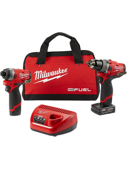 "Milwaukee 2598-22 M12#8482; FUEL™ 2-Tool Combo Kit Gen II 1/2"" Hammer Drill & 1/4"" Hex Impact Driver"
