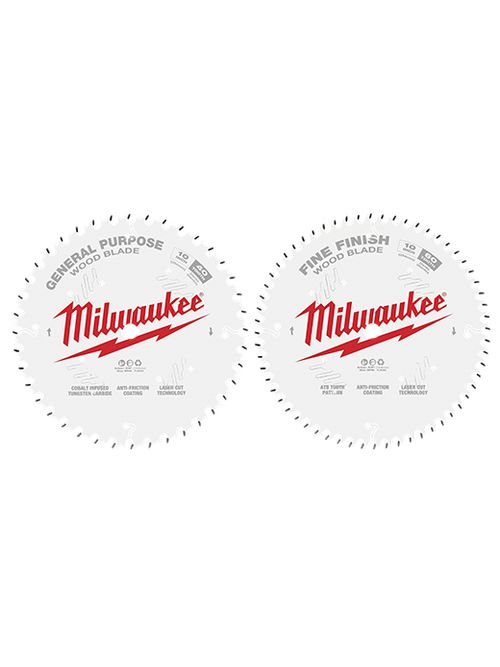 """Milwaukee 48-40-1036 10"""" 40T + 60T Two Pack Circular Saw Blades"""