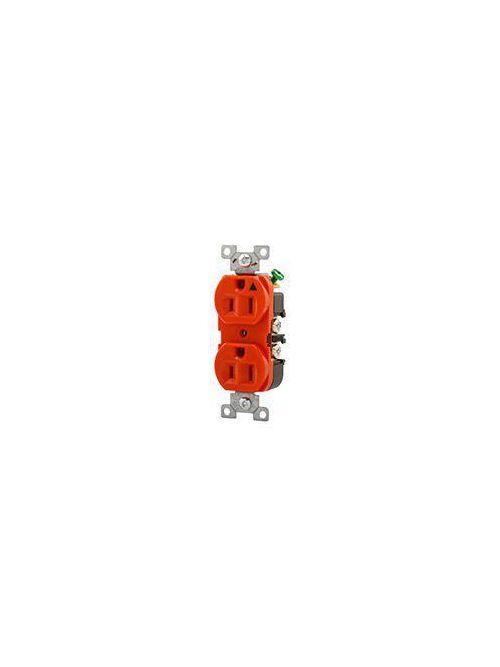 Eaton Wiring Devices IG5262RN 15 Amp 125 VAC 2-Pole 3-Wire NEMA 5-15R Orange Isolated Ground Straight Blade Duplex Receptacle