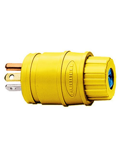 Hubbell Wiring Devices HBL14W33 20 Amp 125 Volt 2-Pole 3-Wire NEMA 5-20P Yellow Straight Blade Plug