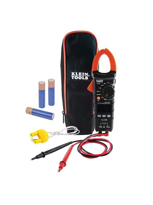 Klein CL380 Digital Electrical Tester, AC/DC Clamp Meter, Auto-Ranging, 400 Amp