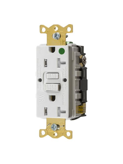Hubbell Wiring Devices GFTWRST83W 20 Amp 125 Volt NEMA 5-20R White Commercial Standard GFCI Receptacle